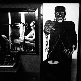 Mandi recording the dulcimer